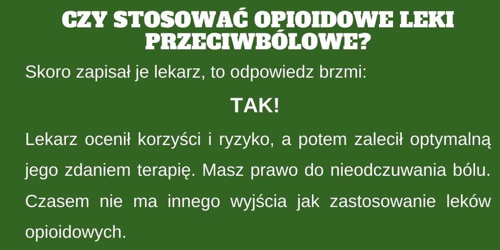 Czy stosować opioidowe leki przeciwbólowe