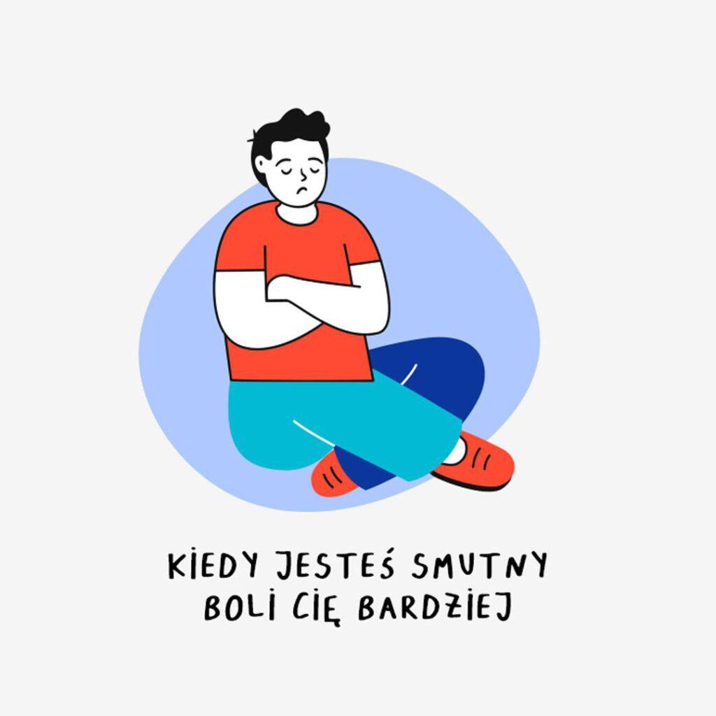 Smutny narysowany człowiek, którego coś boli